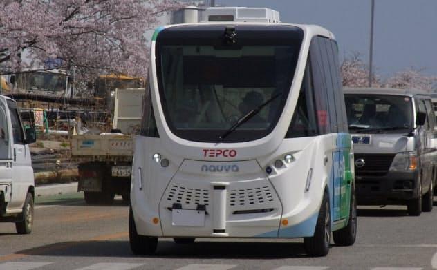 福島第1原発構内を走る自動運転バス「はまかぜe」(出所:東京電力ホールディングス)