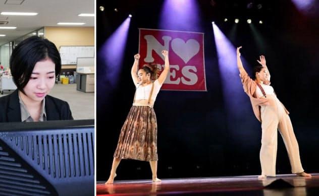 業務用酢の営業を担当する金さんは、就業時間外にジャズダンサー(右写真の右)として活躍する