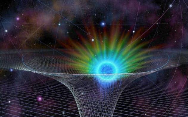 S0-2という恒星は、銀河系の中心にある超大質量ブラックホール「いて座A*」に非常に近いところを通る。この図では、ブラックホールは時空にあいた底なしの穴として描かれている(ILLUSTRATION BY NICOLE R. FULLER, NATIONAL SCIENCE FOUNDATION)