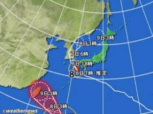 黄円は風速15m/s以上の強風域、赤円は風速25m/s以上の暴風域。白の点線は台風の中心が到達すると予想される範囲。薄い赤のエリアは暴風警戒域