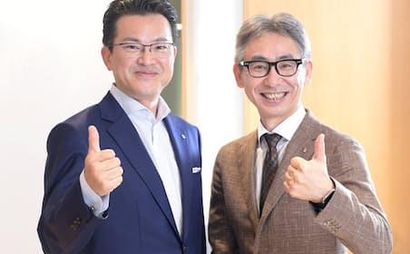 アスアの間地寛社長(左)とローランド・ベルガーの長島聡社長(右)