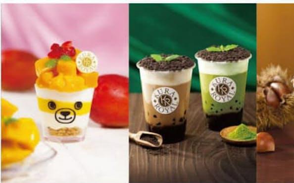 左から「たっぷり完熟マンゴーパフェ」「黒糖タピオカミルクティー」「黒糖タピオカ抹茶ミルク」「モンブランパフェ」