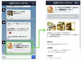 LINE@のアカウントが利用できる「PRページ(右)」の使用例。「トーク」から、より機能的な専用のミニホームページに誘導する