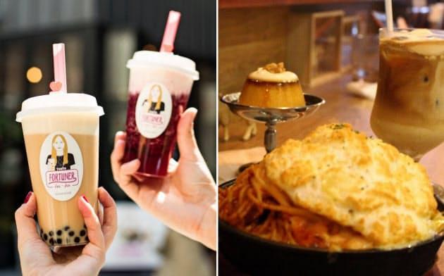 「FORTUNER tea―box」のチーズティー(左)と、「チーズ喫茶 吾輩は山羊である」のチーズを使ったコーヒーやプリン