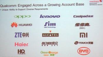 図3 クアルコムが2012年11月の報道関係者向けイベントで示したQRD利用企業