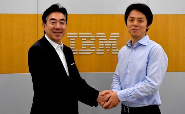 日本IBMの森本典繁執行役員(左)とグリッドの曽我部完社長(出所:グリッド)