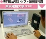 図5 東京電機大学の仮想デスクトップシステムを使っている様子。CADや統計ソフトのような特殊なソフトを使った学習が、学内はもちろん自宅のパソコンでもできるようになった