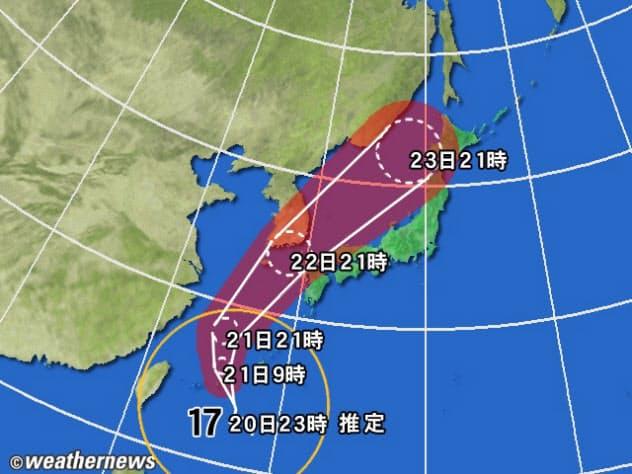 黄円は風速15m/s以上の強風域。白の点線は台風の中心が到達すると予想される範囲。薄い赤のエリアは暴風警戒域