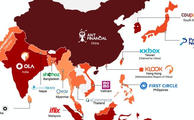アジア・太平洋地域で資金調達額の多いスタートアップ