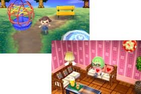 「とびだせ どうぶつの森」の画面。自分だけの「村」を作ったり(左)、自室の家具をリメイクしたりして過ごす