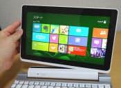 本体にキーボードドックを合体すると、ノートパソコンのようになる