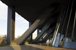 写真3 13階のスカイロビーにはメガトラス。スカイロビーはオフィス階へ向かうエレベーターへの乗り換え階でもある。メガトラスを見せつつ、緑を巡らせた。勤務する人や来訪者の交流の場にもなる(写真:生田将人)