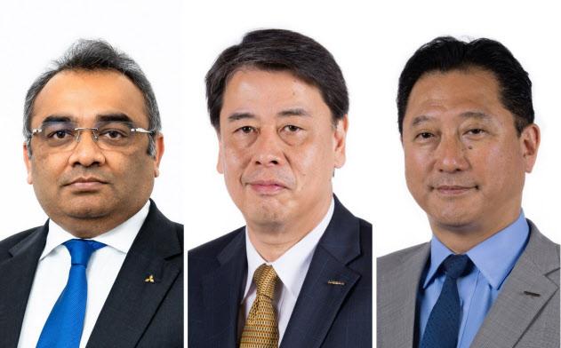 日産の社長兼CEOに就く内田誠氏(中)、COOに就くグプタ氏(左)、副COOとなる関氏(右)