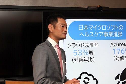 日本マイクロソフトの業務執行役員パブリックセクター事業本部の大山訓弘医療・製薬営業統括本部長(写真:日経 xTECH)