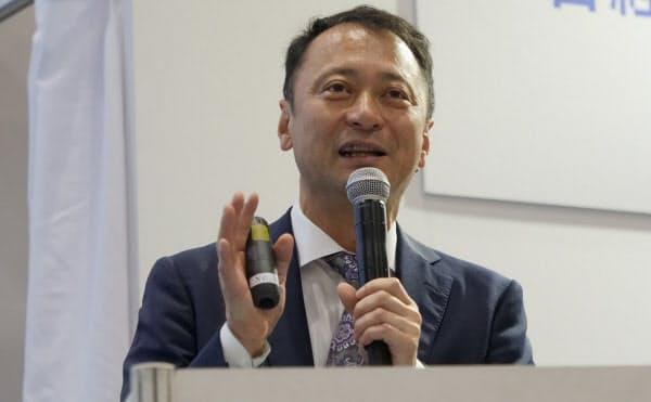 日経 xTECH EXPO 2019で講演するモネ・テクノロジーズの宮川潤一社長兼CEO(撮影:新関雅士)