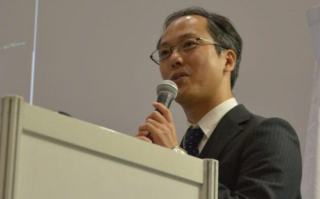 JAXAのはやぶさ2プロジェクトでプロジェクトマネージャを務める津田雄一氏。「日経 xTECH EXPO 2019」に講師として登壇した(撮影:日経 xTECH)