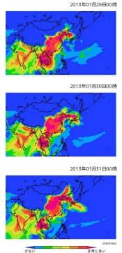 九州大学応用力学研究所のシミュレーションソフトSPRINTARSでは、中国からの汚染物質が日本に飛来する様子を予測している=竹村俊彦准教授提供