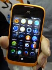 中興通訊(ZTE)が今夏に発売する「ZTEオープン」。ファイヤーフォックスOSを搭載する