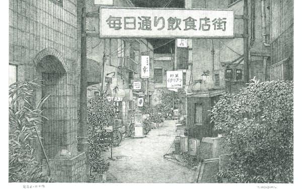 東京・北千住の飲み屋街(画・安住孝史氏)