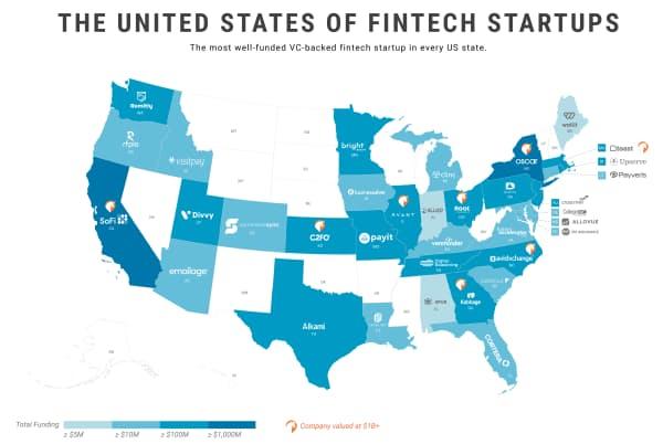 米各州の資金調達額が最も多いフィンテック分野のスタートアップ 14年1月以降に実施した株式発行による資金調達のみが対象(19年11月6日時点)