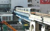 渋谷ヒカリエから見た銀座線。東急東横店の内部にある駅のホームは、この辺りに移設される予定