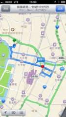 アップルマップで日経ビルから東京駅へ車で向かうルートを検索した場合