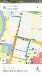 グーグルマップで日経ビルから東京駅へ車で向かうルートを検索した場合