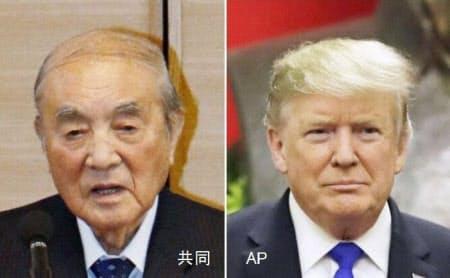 トランプ米大統領(右、AP)は中曽根康弘元首相(共同)の死去を受け「米国民を代表し、日本国民に対し最も深い哀悼の意を示す」と声明で発表した
