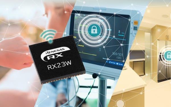 新製品の32ビットマイコン「RX23W」と応用イメージ(出所:ルネサスエレクトロニクス)