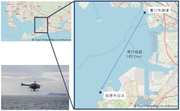 実証実験が行われた愛知県豊川市と田原市を結ぶ海域(資料:NEDO)