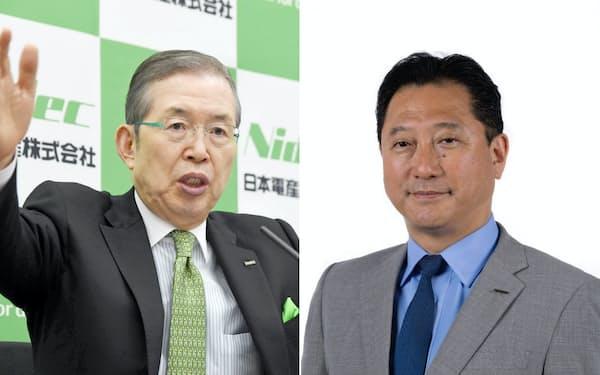 日本電産への転職を決めた日産の関潤・副COO(右)。左は日本電産の永守重信会長