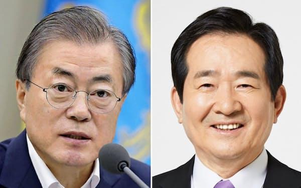 文在寅大統領(左)と丁世均首相=韓国大統領府提供