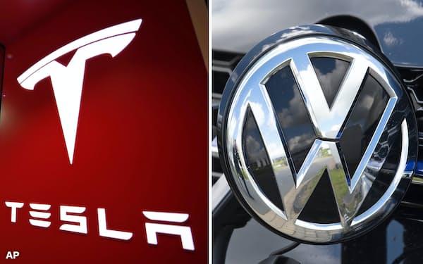 VWの新車販売台数は世界トップで、テスラの約30倍。それでもVWは危機感を隠さない=AP
