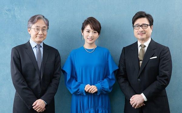 ジョン・カビラさん(右)、高島彩さん(中)、町山智浩さん