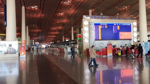 閑散とした北京首都空港