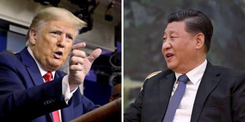 トランプ米政権と中国の習政権は新型コロナウイルスを巡り対立を深めている=写真はいずれもロイター