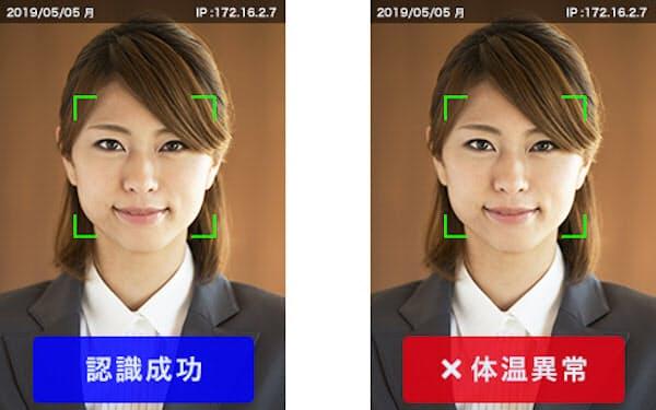 データスコープが開発・提供する「顔認証+体温検知」システムによる体温判定イメージ