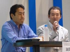 ブックライブの淡野正社長(左)と三省堂書店の亀井崇雄専務