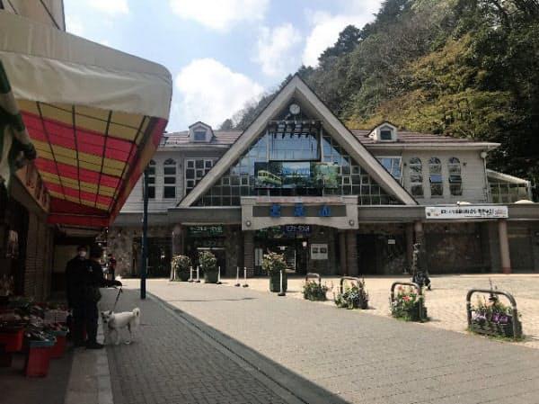 高尾山のケーブルカー乗り場(東京都八王子市)