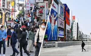 昼食を食べる店を探す会社員らでにぎわう東京都港区の飲食街(写真左)と行き交う人の少ない大阪・道頓堀の戎橋(同右)