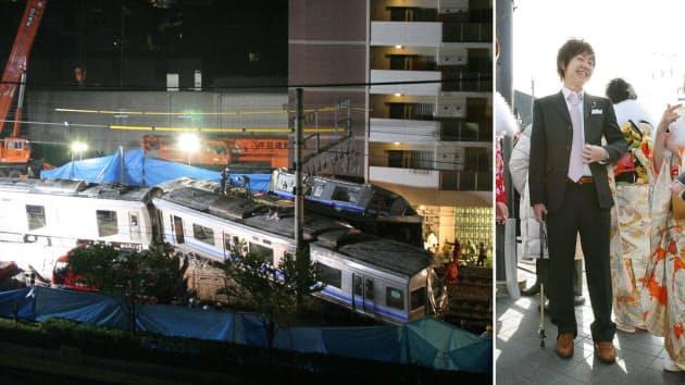 救助活動が続けられた脱線現場(写真左、2005年4月26日未明、兵庫県尼崎市)と成人式に臨む山下亮輔さん。現在も事故の後遺症でつえを使っている(2007年1月8日、兵庫県伊丹市)