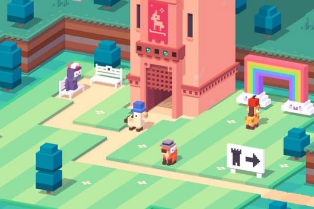 アップルアーケードで提供しているゲーム「Crossy Road Castle」の画面例