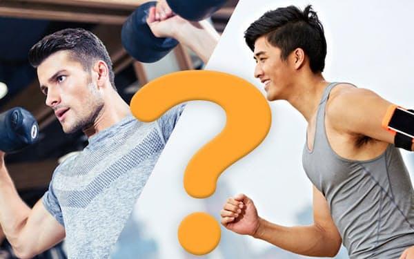 コロナで運動不足のとき、優先すべきはジョギングなどの有酸素運動でしょうか、筋トレでしょうか。左(c)Dean Drobot-123RF 右(c)imtmphoto-123RF