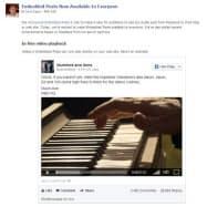 Facebookで公開されている、投稿記事を外部サイトに埋め込む機能「Embedded Posts」の例