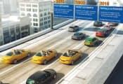 図6 ドイツContinentalも自動運転技術を開発中。2016年に高速道路上での時速30kmまでの部分的な自動運転を実用化し、2020年までに速度領域を時速100kmまで拡大、2025年には時速130kmまでの完全な自動運転を目指す