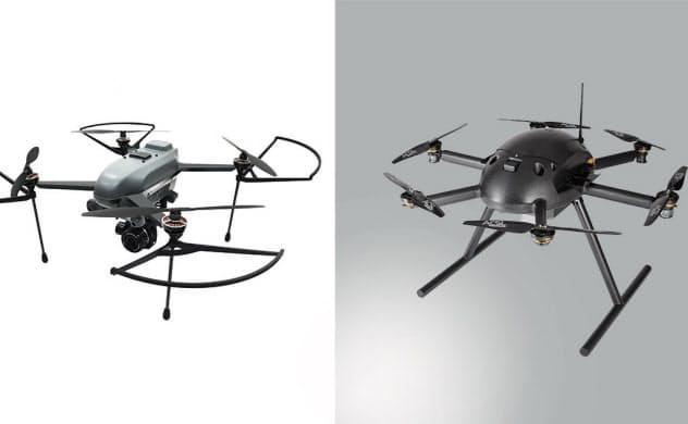 VAIOのドローン開発子会社VFRが自律制御システム研究所との共同開発に取り組む予定の既存機体。いずれもACSL製で、左は「MINI」、右は「PF2」(写真:VFR)