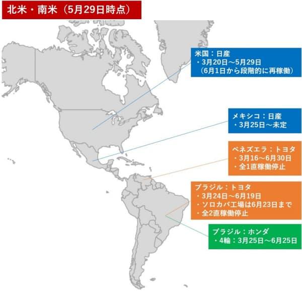 北米と南米の工場の稼働停止状況(作成:日経クロステック)