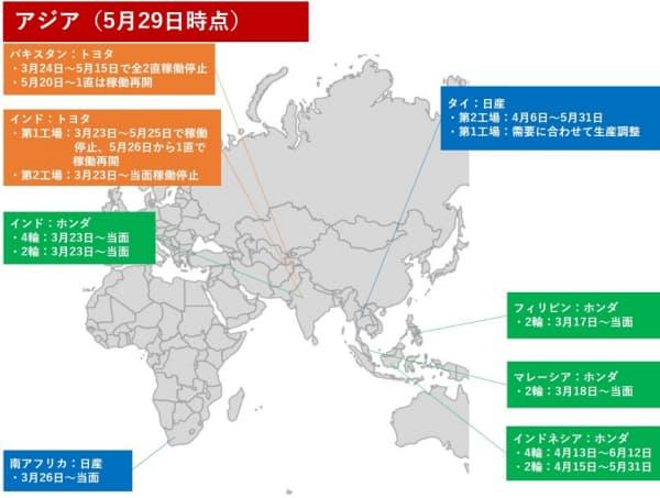 日本を除くアジアの工場の稼働停止状況(作成:日経クロステック)