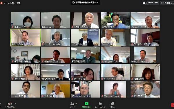 30% Club Japanが5月25日に開いたオンライン社長会。大手17社の社長らが女性活躍の意義を確認した