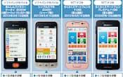 図1 携帯電話事業者各社がシニア向けに使い勝手や機能を強化したスマホの提供に本腰を入れ始めた。上級者向けから初心者向けまであり、それぞれ機能が異なる